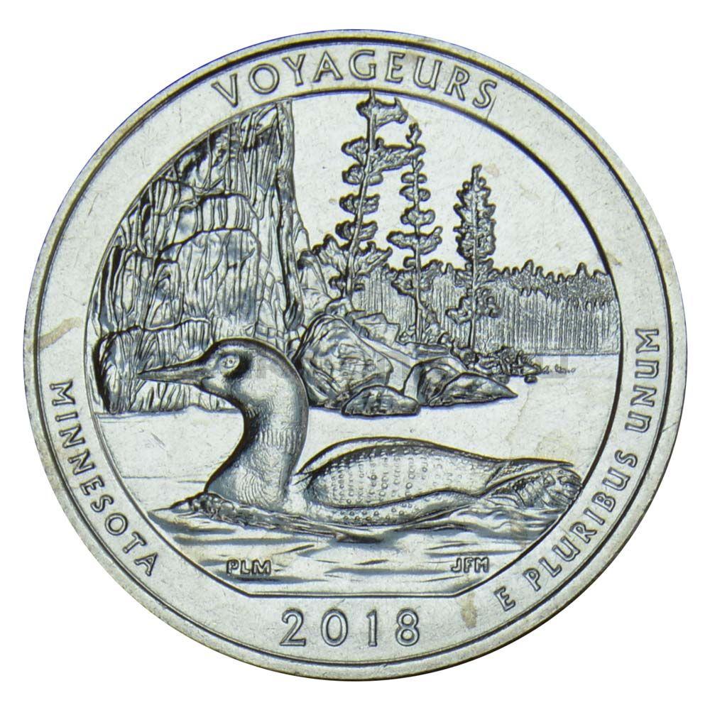 25 центов 2018 США Национальный парк Вояджерс S