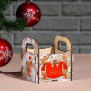 """Кашпо деревянное """"С Новым Годом! Бычок на снегу"""", 10×10.5×11 см"""