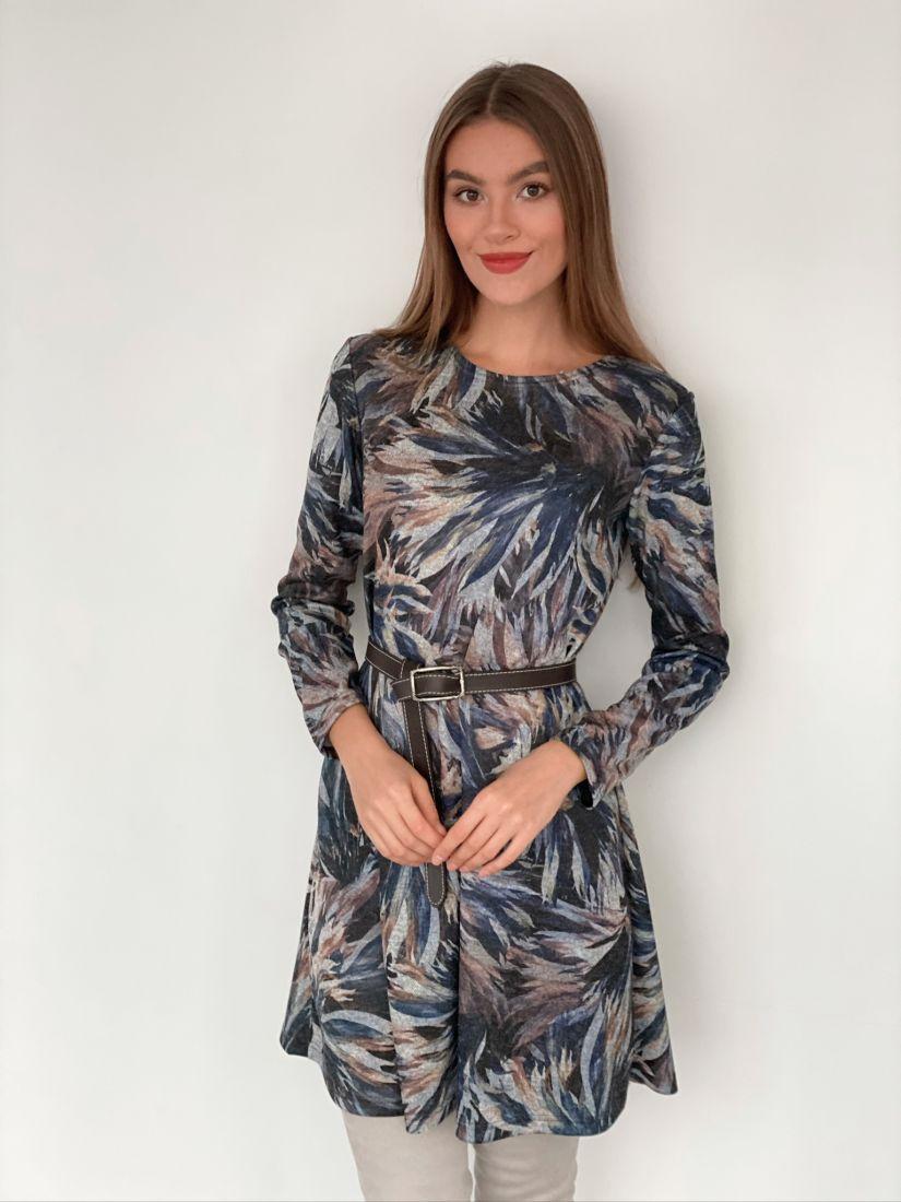 s3174 Платье-трапеция из ангоры с принтом