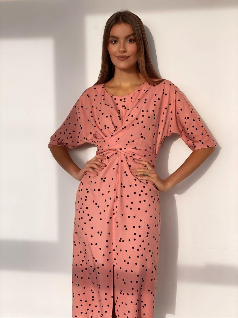 s3177 Платье с перекрутами розовое в горох