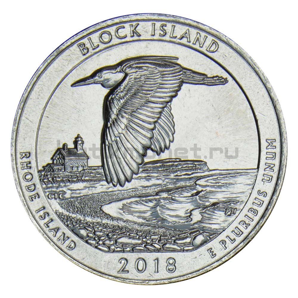 25 центов 2018 США Национальное убежище дикой природы острова Блок D
