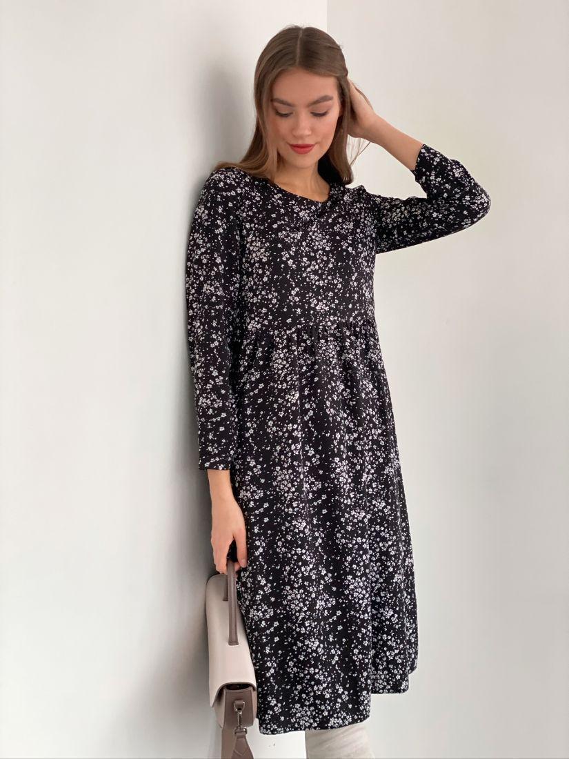 s3178 Платье чёрное с минималистичным принтом