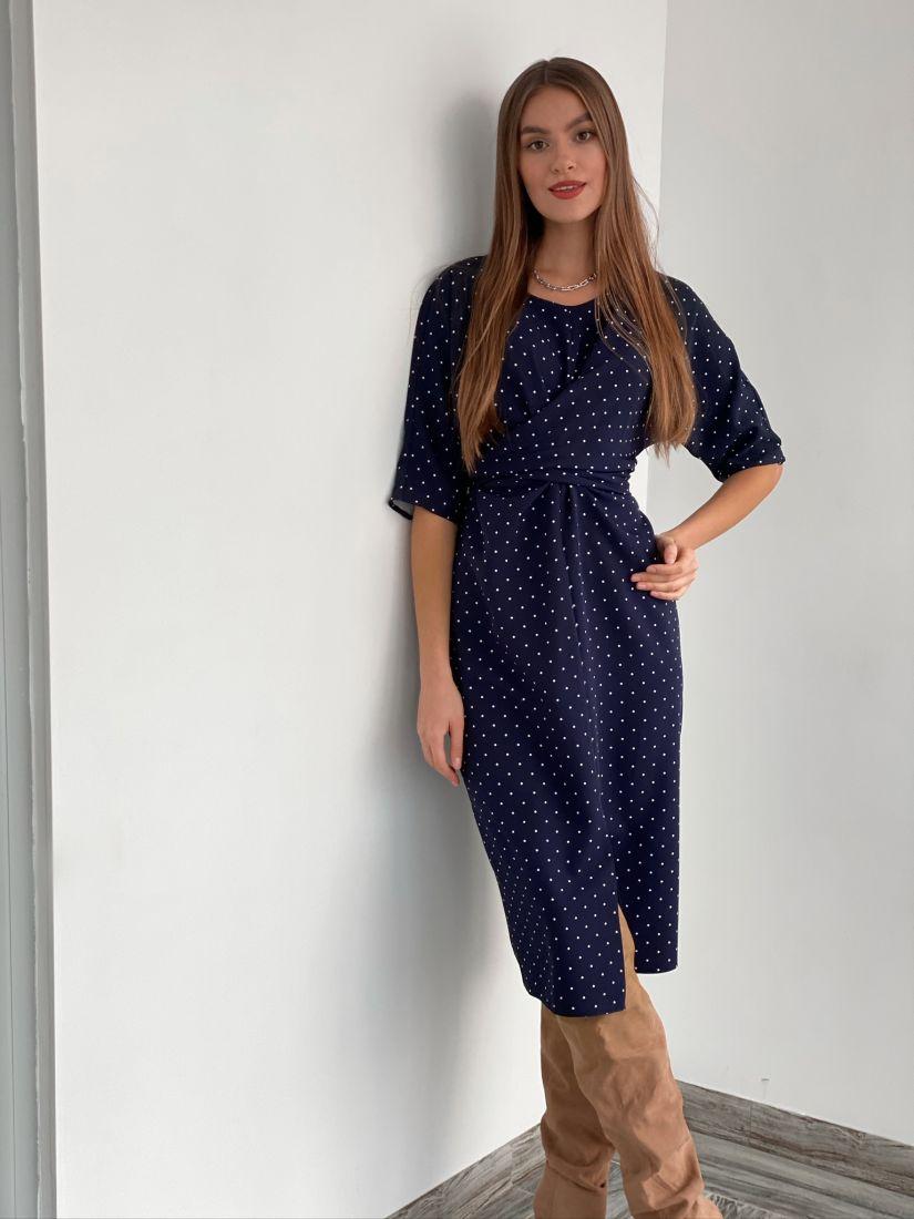 s3184 Платье с перекрутами синее в горох