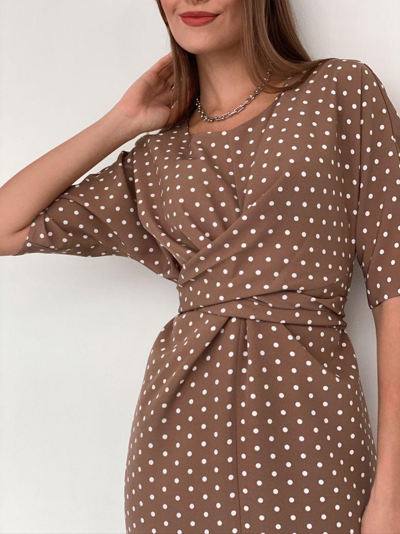 s3188 Платье с перекрутами бежевое в горошек