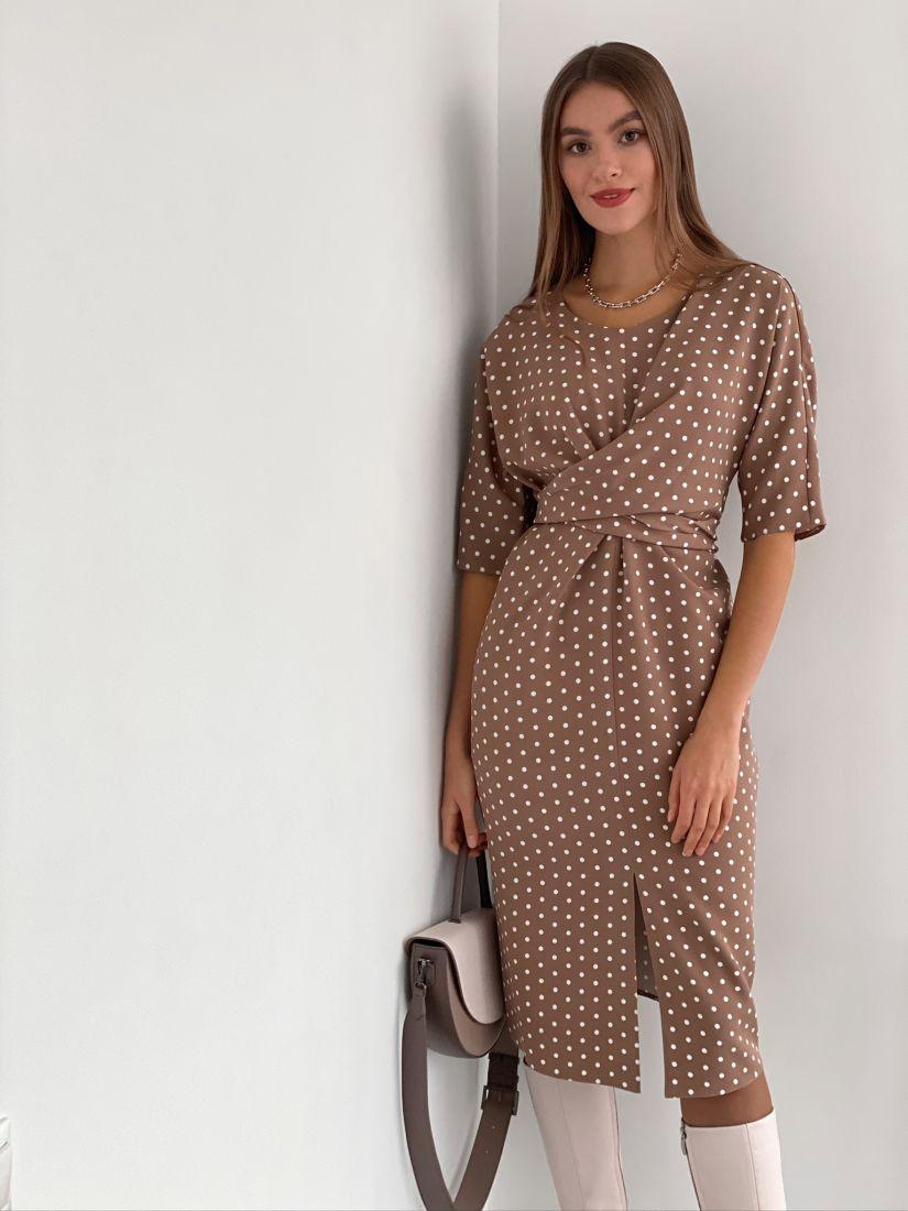 3188 Платье с перекрутами бежевое в горошек