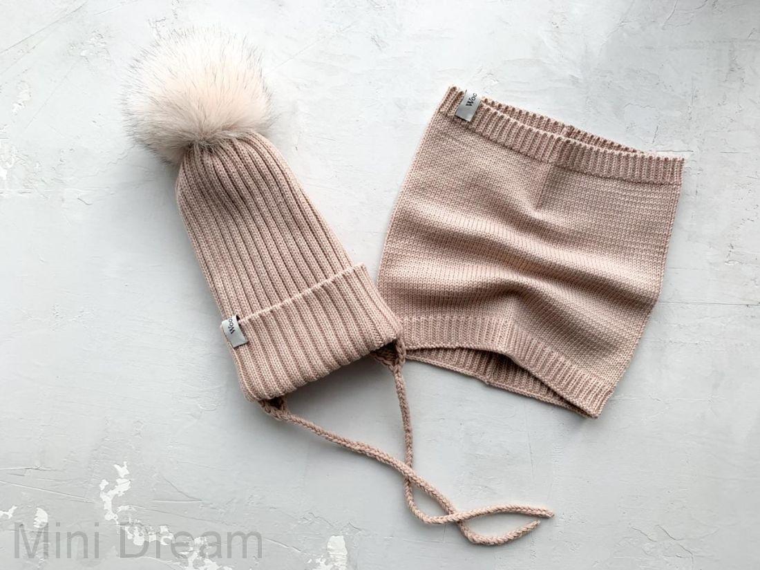 Комплект вязанный зима теплый беж