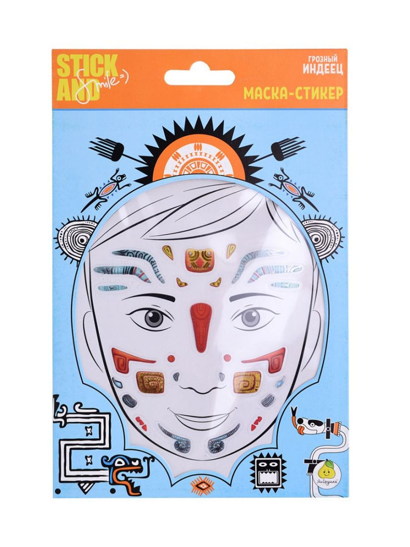 Маска-стикер STICK AND SMILE 12326 для лица Грозный индеец