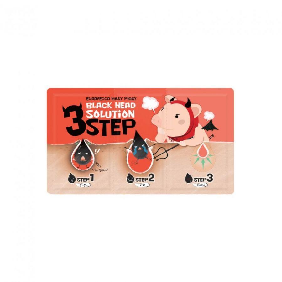 Маска-патчи для носа для удаления черных точек- 3 шаговая Elizavecca Black Head Soultion 3 Step 6 гр
