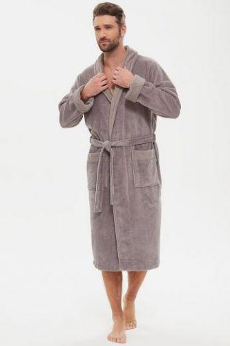Мужской махровый халат из бамбука Energy бежево-серый