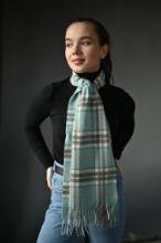 кашемировый шарф (100% драгоценный кашемир) , расцветка  клан Томпсон (опаловый вариант) Thompson Opal, плотность 7
