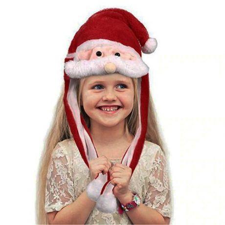 Светодиодная шапка с подвижными усами Санта Клаус