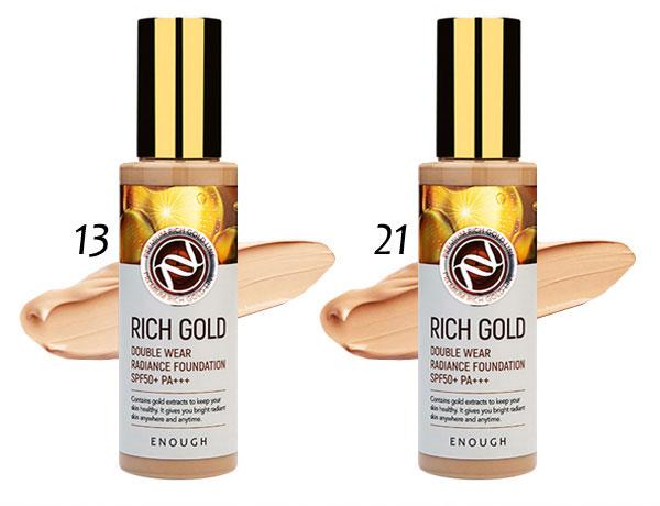 Тональный крем омолаживающий №21 Enough Rich Gold Double Wear Radiance Foundation SPF50+ PA+++ ХИТ