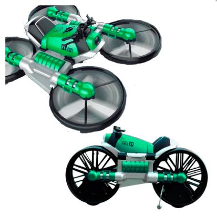Летающий квадрокоптер мотодрон Leap 2 в 1