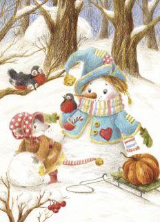 Почтовая открытка Снеговик и мышь