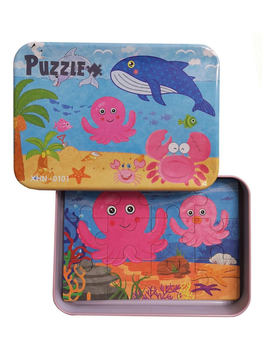 Развивающие пазлы в жестяной коробке SHAPES PUZZLE набор - МОРСКИЕ ЖИТЕЛИ - 56 элементов, 4 пазла
