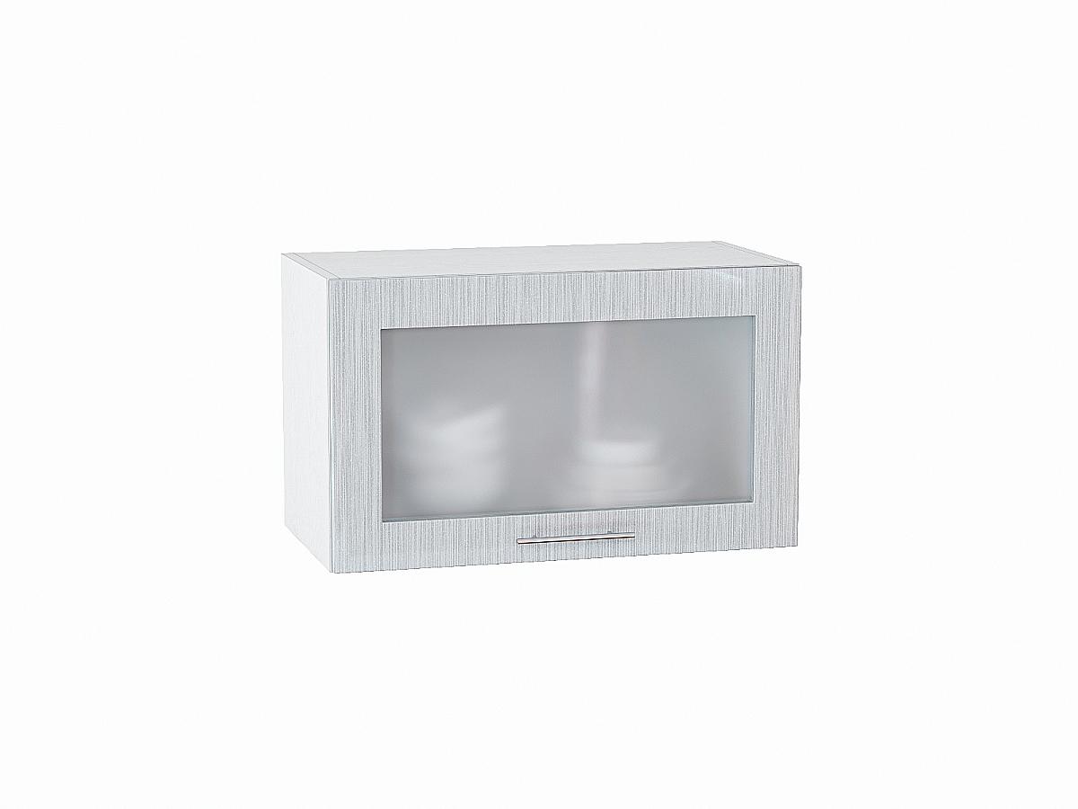 Шкаф верхний Валерия ВГ600 со стеклом (серый металлик дождь)