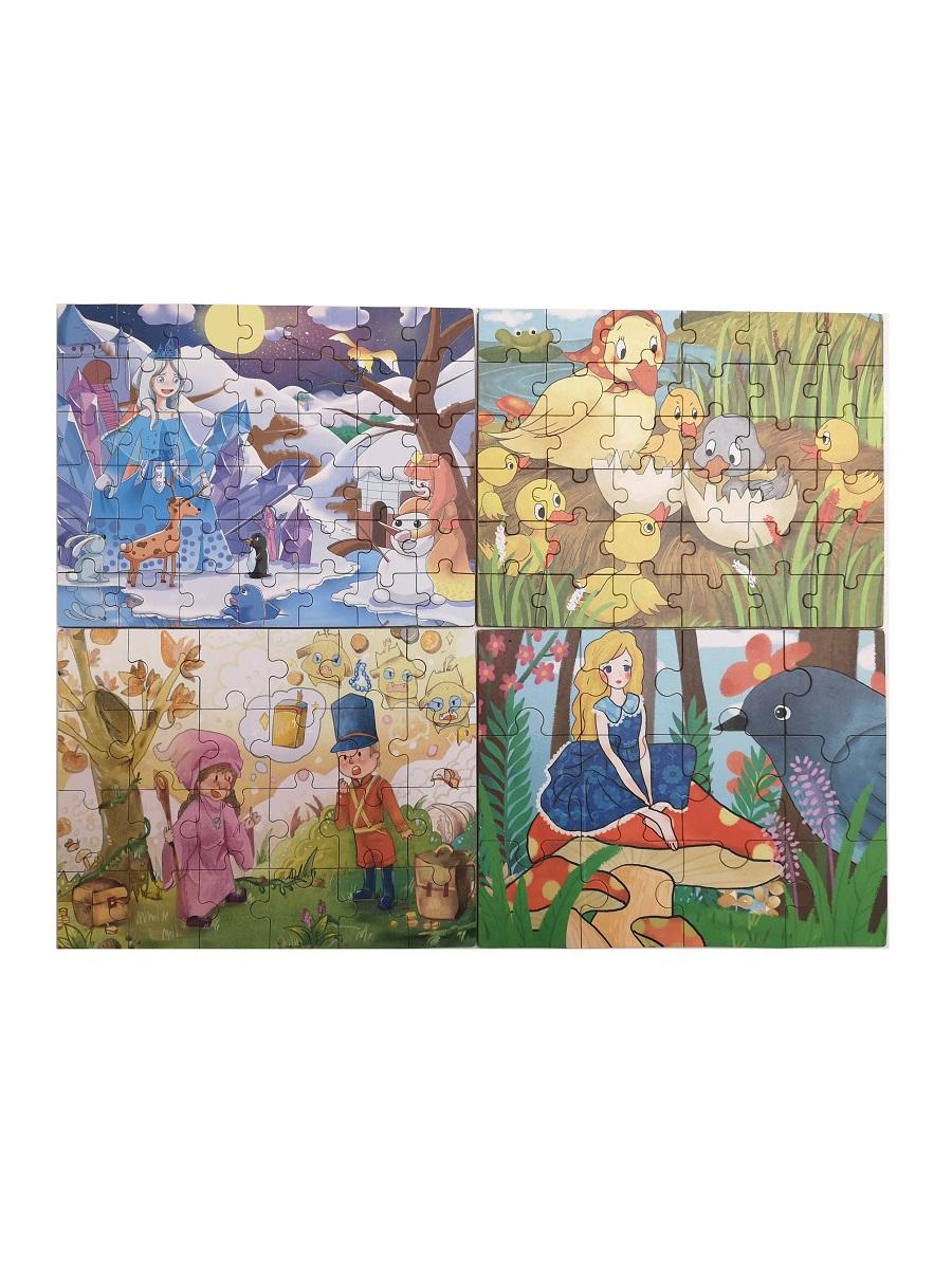 Развивающий пазл SHAPES PUZZLE Сказки 4 картинки 114 элементов в деревянной коробке