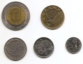 Фауна Набор монет Намибия 1993-2010 (5 монет)