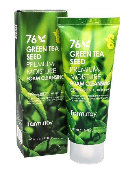 "Пенка для умывания ""Семена Зеленого чая"" FarmStay 76 Green Tea Seed Premium Moisture, 100мл ХИТ"