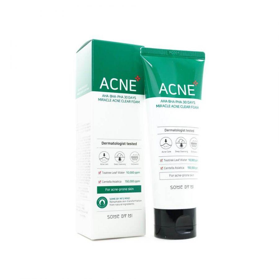 Очищающая пенка для проблемной кожи SOME BY MI AHA-BHA-PHA 30 DAYS Miracle Acne Clear Foam 100ml