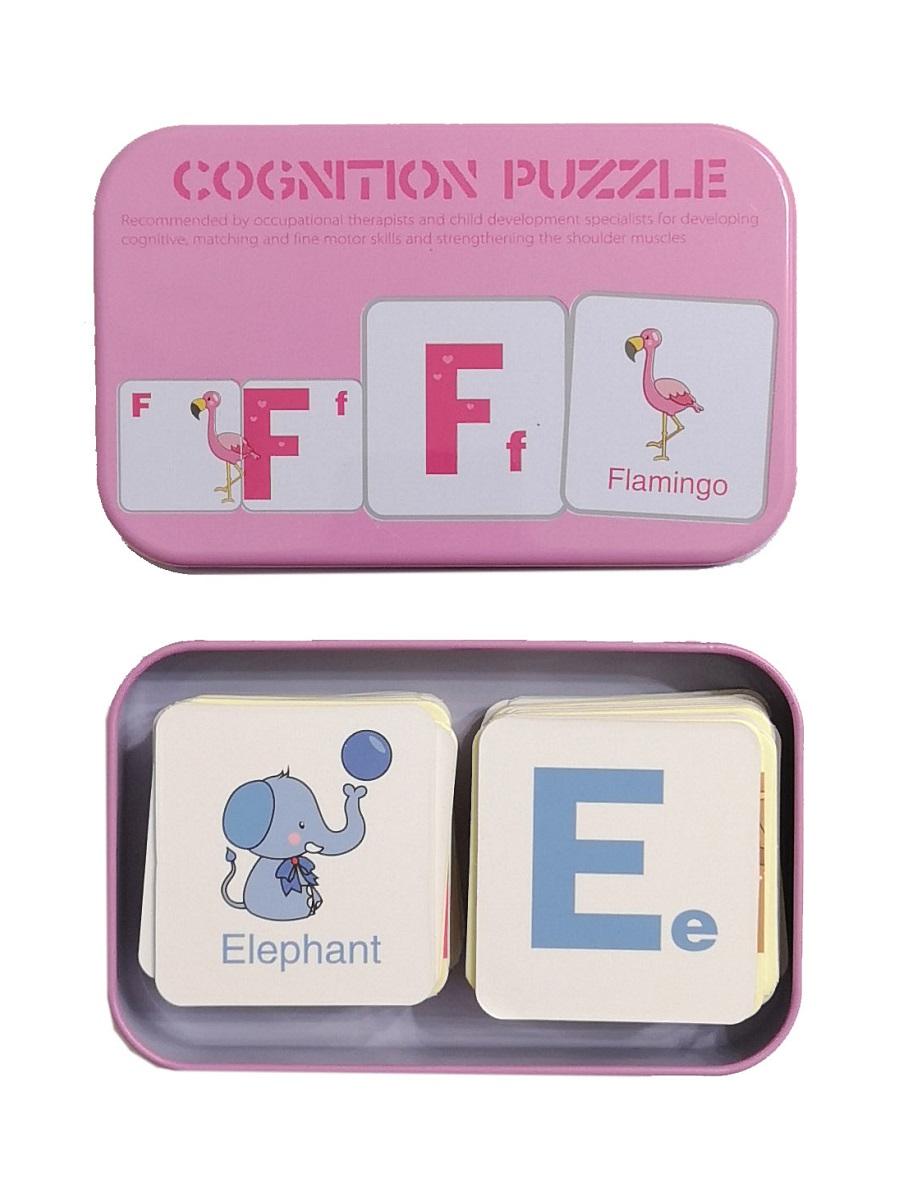 Развивающие и обучающие карточки SHAPES PUZZLE 56 элементов Алфавит-2 Серия Буквы и цифры в жестяной коробке