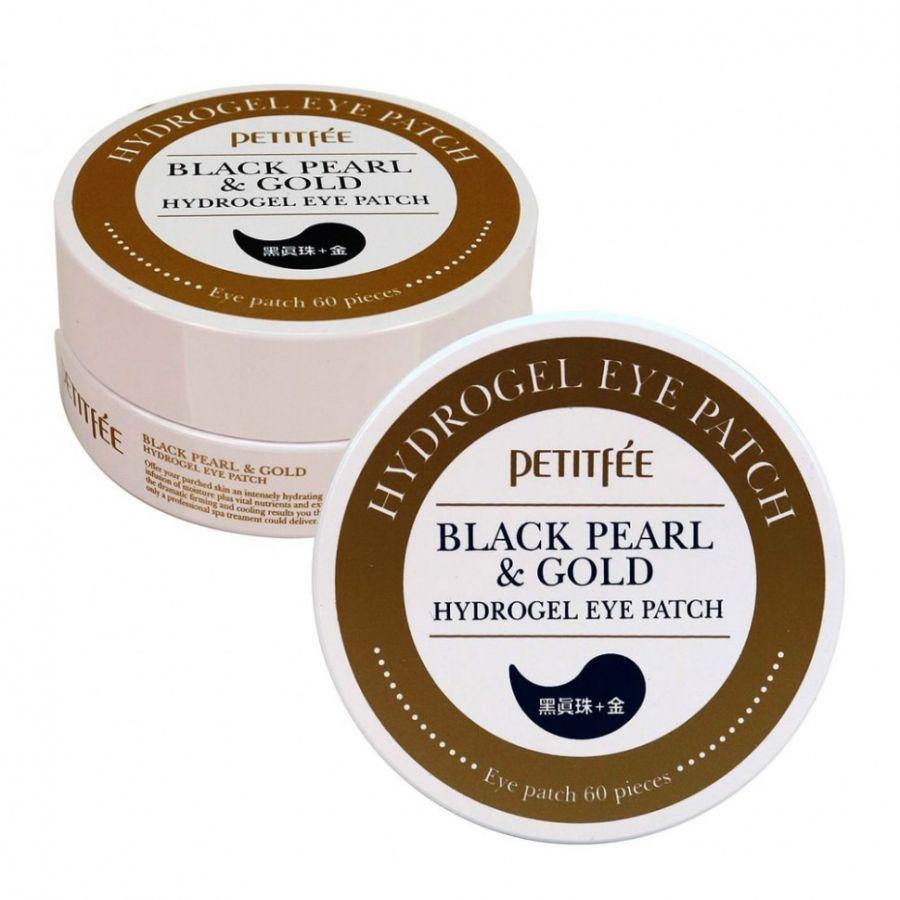 Гидрогелевые патчи с экстрактом чёрного жемчуга и био-частицами золота  Petitfee Black Pearl & Gold Hydrogel Eye Patch 60pcs ХИТ