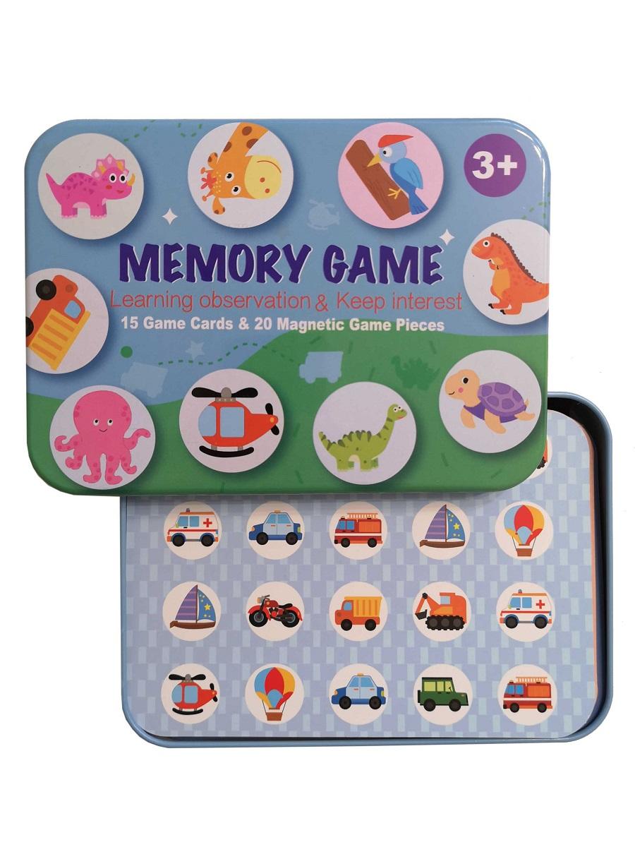 Развивающая игра на запоминание SHAPES PUZZLE Boy Серия Memory game в жестяной коробке