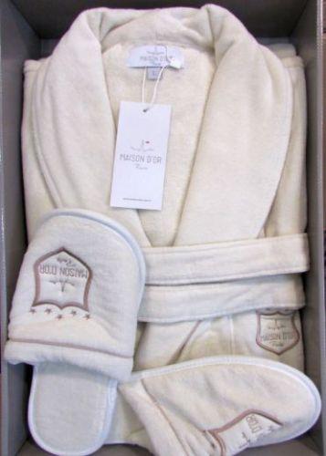 Мужской велюровый халат Boswell кремовый