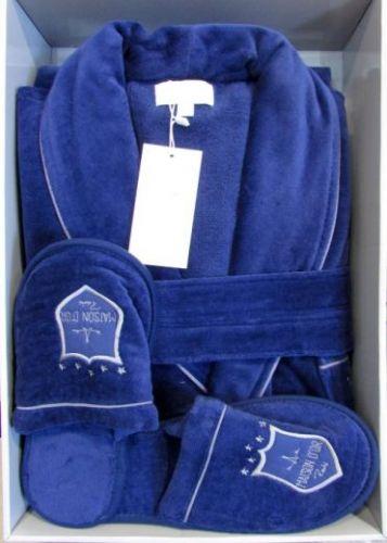 Мужской велюровый халат Boswell синий
