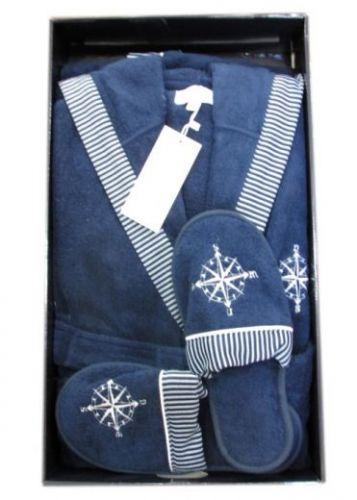 Мужской махровый халат с капюшоном Marine Club синий