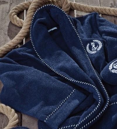 Мужской махровый халат Michel Sailing голубой