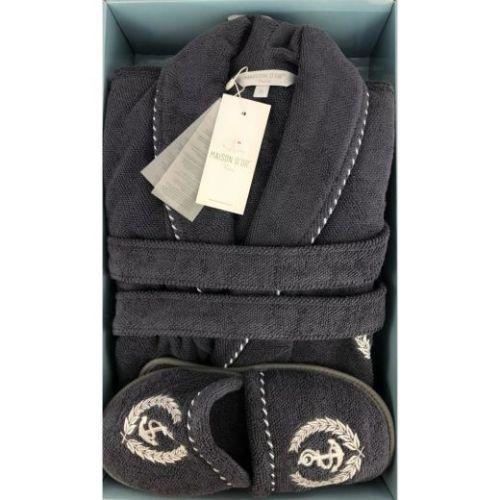 Мужской махровый халат Michel Sailing серый