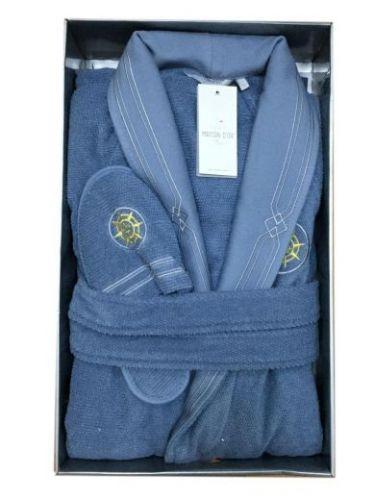 Мужской махровый халат Eleganze Marine голубой