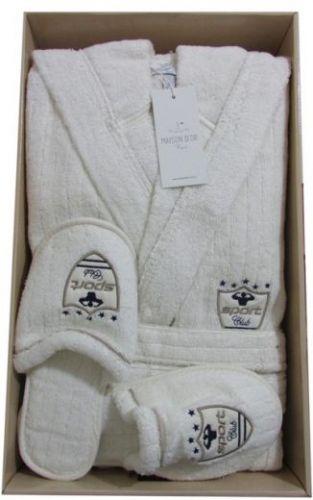 Мужской махровый халат с капюшоном Rodolphe кремовый