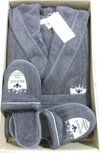 Мужской махровый халат с капюшоном Rodolphe серый