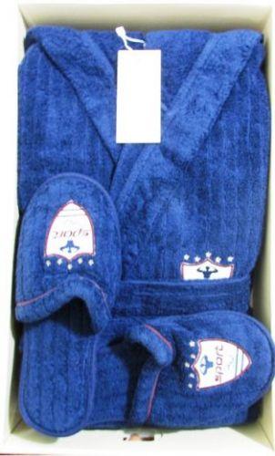 Мужской махровый халат с капюшоном Rodolphe синий