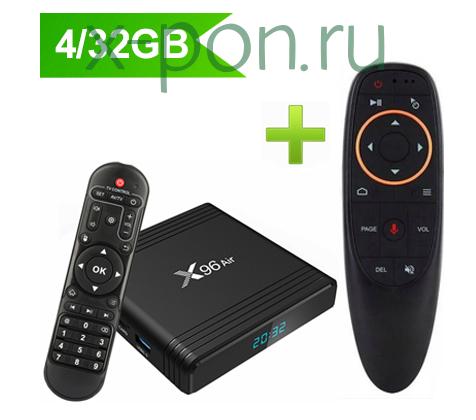 ТВ-приставка X96 AIR 4/32Gb черный с пультом AIR MOUSE (ГИРОСКОП, МИКРОФОН)