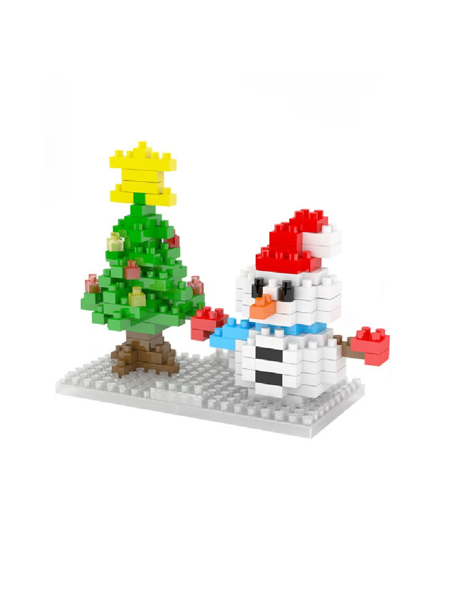 Конструктор Wisehawk & LNO Снеговик с елкой 150 деталей NO. 2263 Snowman with a Christmas tree Gift series