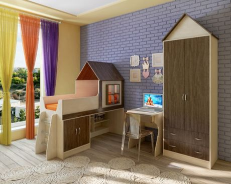 Детская кровать-чердак Домик с мебелью Фанки Кидз