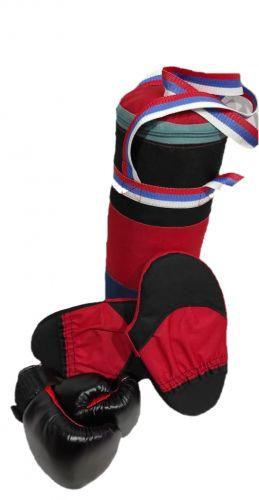 Детский боксерский набор, мешок 2 кг, 50х22 см, боксерские перчатки №4, лапы