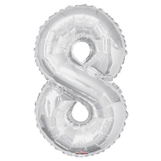 Фигурный шарик из фольги Цифра 8 серебро 86см