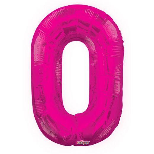 Фигурный шарик из фольги Цифра 0 розовая 86см