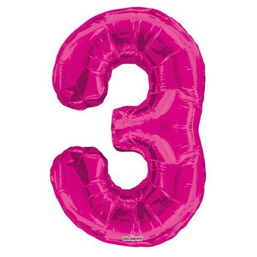 Фигурный шарик из фольги Цифра 3 розовая 86см