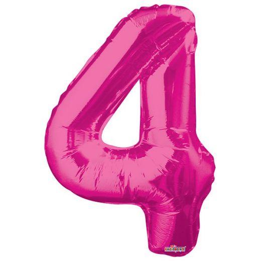 Фигурный шарик из фольги Цифра 4 розовая 86см