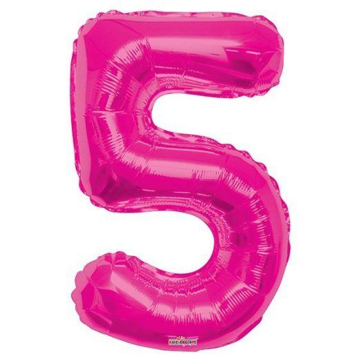 Фигурный шарик из фольги Цифра 5 розовая 86см