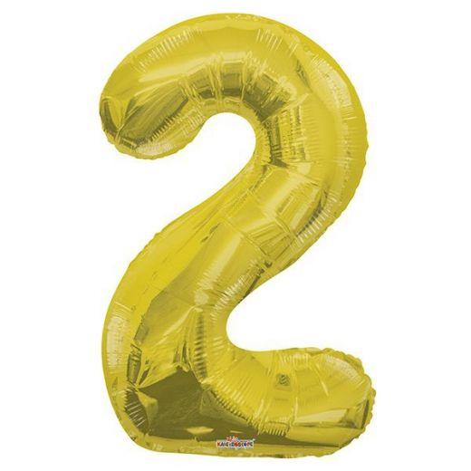 Фигурный шарик из фольги Цифра 2 золото 86см