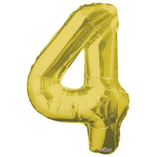Фигурный шарик из фольги Цифра 4 золото 86см