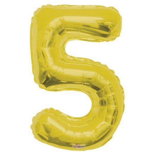 Фигурный шарик из фольги Цифра 5 золото 86см