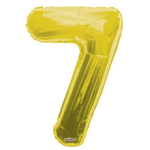 Фигурный шарик из фольги Цифра 7 золото 86см
