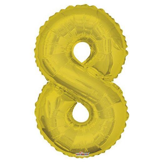 Фигурный шарик из фольги Цифра 8 золото 86см